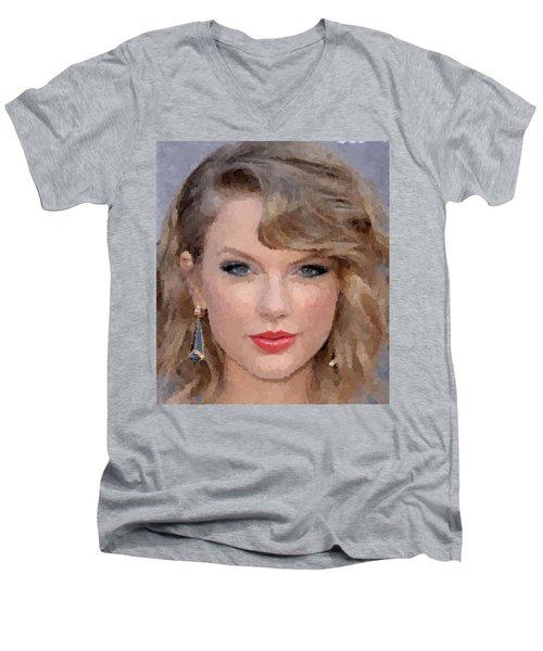 Taylor Swift Men's V-Neck T-Shirt by Samuel Majcen