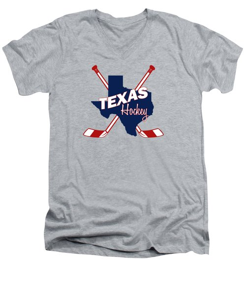 Texas State Hockey Men's V-Neck T-Shirt by Summer Myers
