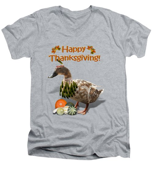 Thanksgiving Indian Duck Men's V-Neck T-Shirt by Gravityx9 Designs