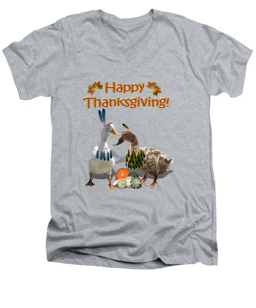 Thanksgiving Indian Ducks Men's V-Neck T-Shirt by Gravityx9  Designs