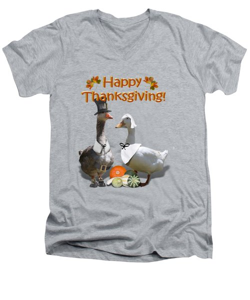 Thanksgiving Pilgrim Ducks Men's V-Neck T-Shirt by Gravityx9 Designs