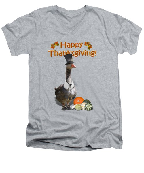 Thanksgiving Pilgrim Goose Men's V-Neck T-Shirt by Gravityx9  Designs