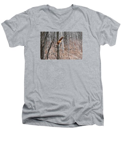 The American Woodcock In-flight Men's V-Neck T-Shirt by Asbed Iskedjian