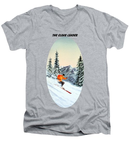 The Clear Leader Skiing Men's V-Neck T-Shirt by Bill Holkham