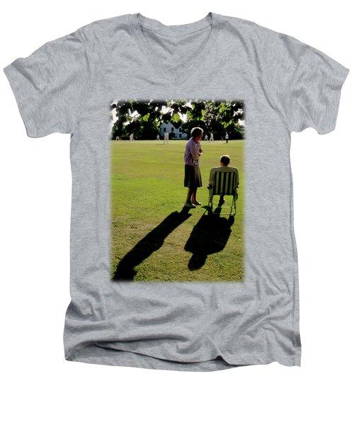 The Cricket Match Men's V-Neck T-Shirt by Jon Delorme