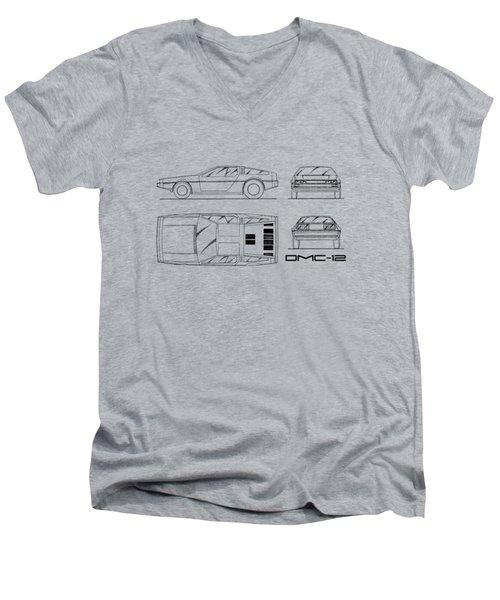 The Delorean Dmc-12 Blueprint - White Men's V-Neck T-Shirt by Mark Rogan
