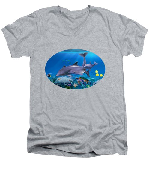 The Dolphin Family Men's V-Neck T-Shirt by Glenn Holbrook