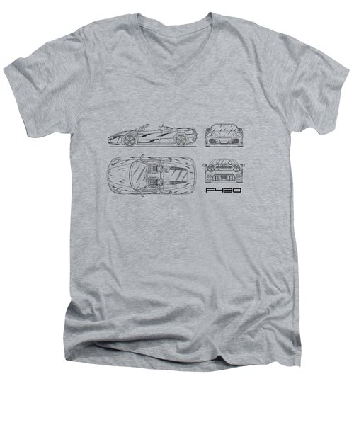 The F430 Blueprint - White Men's V-Neck T-Shirt by Mark Rogan