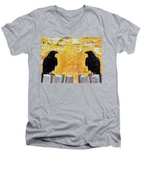 The Gossips Men's V-Neck T-Shirt by Pat Saunders-White