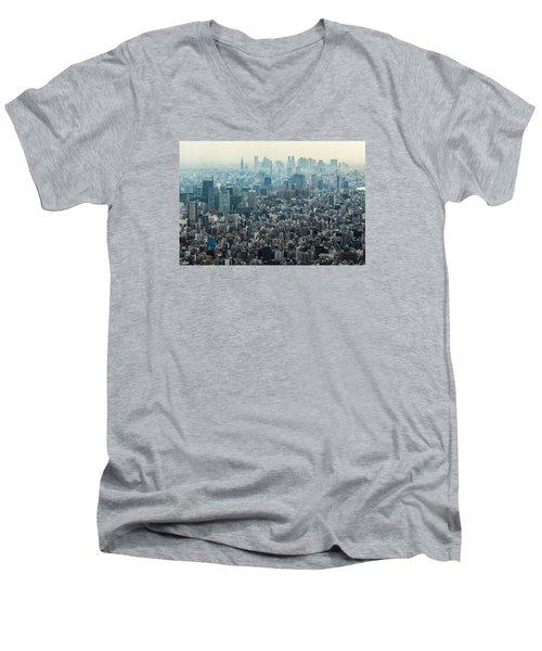 The Great Tokyo Men's V-Neck T-Shirt by Peteris Vaivars