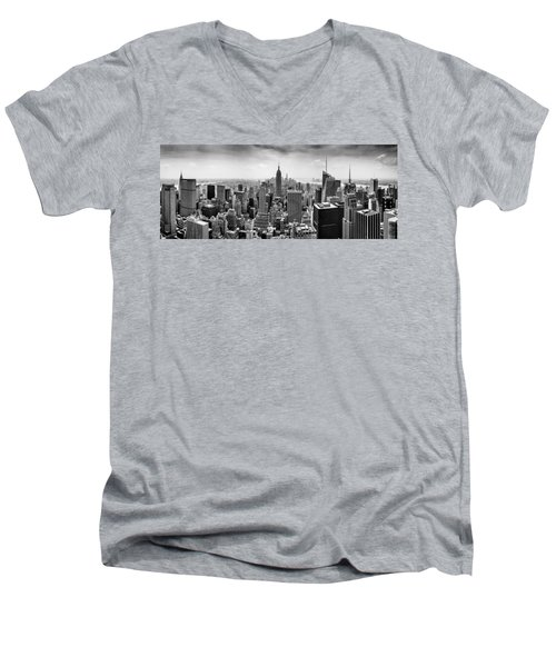 New York City Skyline Bw Men's V-Neck T-Shirt by Az Jackson
