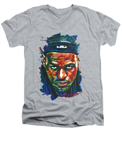 The Lebron Death Stare Men's V-Neck T-Shirt by Maria Arango