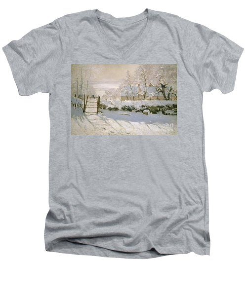 The Magpie Men's V-Neck T-Shirt by Claude Monet