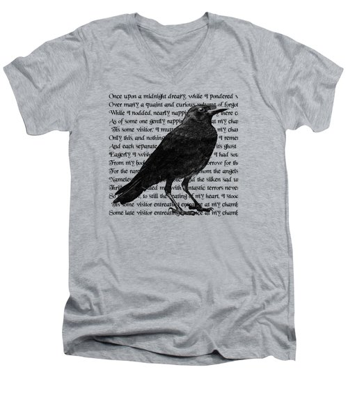 The Raven Poem Art Print Men's V-Neck T-Shirt by Sandra McGinley