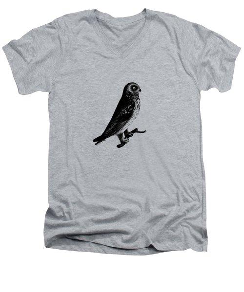 The Short Eared Owl Men's V-Neck T-Shirt by Mark Rogan