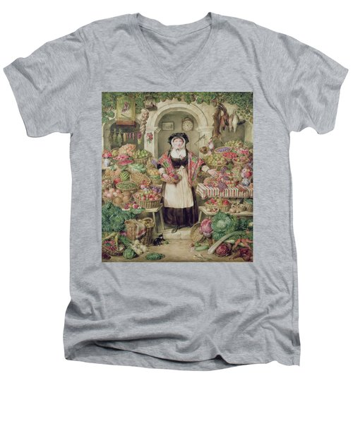 The Vegetable Stall  Men's V-Neck T-Shirt by Thomas Frank Heaphy