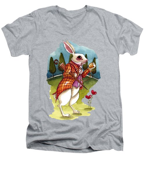 The White Rabbit Is Late Men's V-Neck T-Shirt by Lucia Stewart