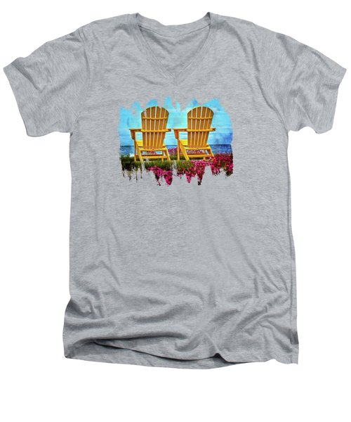 The Yellow Chairs By The Sea Men's V-Neck T-Shirt by Thom Zehrfeld