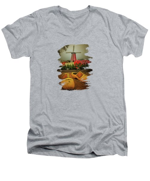 The Yellow Wooden Shoes Men's V-Neck T-Shirt by Thom Zehrfeld