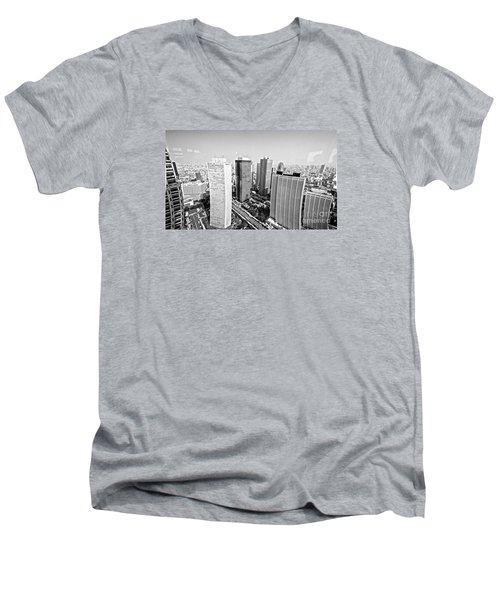 Tokyo Skyline Men's V-Neck T-Shirt by Pravine Chester