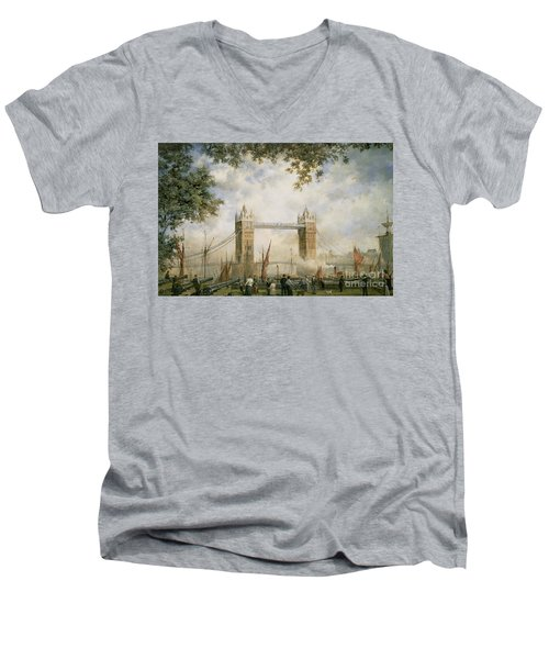 Tower Bridge - From The Tower Of London Men's V-Neck T-Shirt by Richard Willis