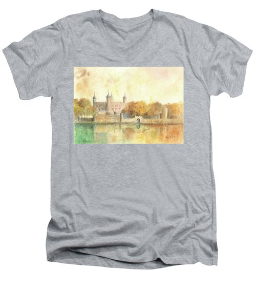 Tower Of London Watercolor Men's V-Neck T-Shirt by Juan Bosco