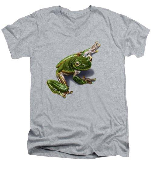 Tree Frog  Men's V-Neck T-Shirt by Owen Bell