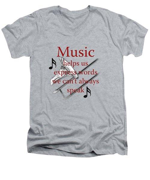 Trombone Music Expresses Words Men's V-Neck T-Shirt by M K  Miller