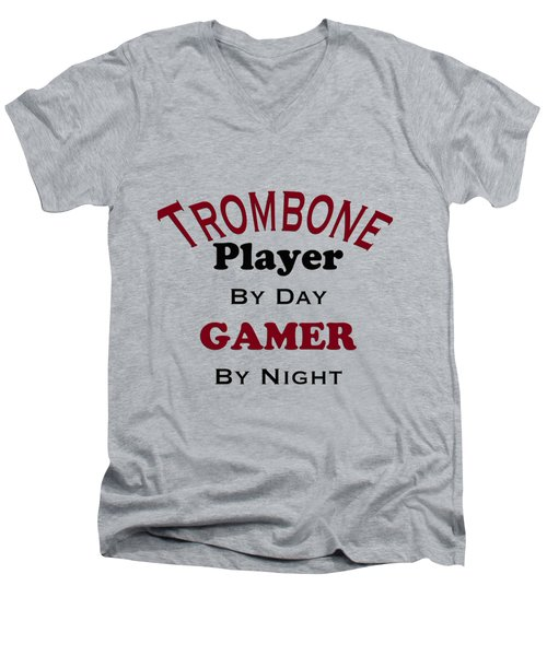 Trombone Player By Day Gamer By Night 5626.02 Men's V-Neck T-Shirt by M K  Miller