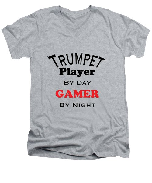Trumpet Player By Day Gamer By Night 5628.02 Men's V-Neck T-Shirt by M K  Miller