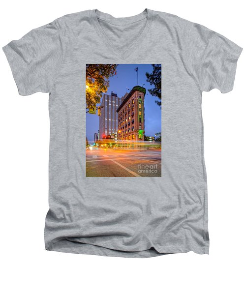 Twilight Photograph Of The Flatiron Building In Downtown Fort Worth - Texas Men's V-Neck T-Shirt by Silvio Ligutti