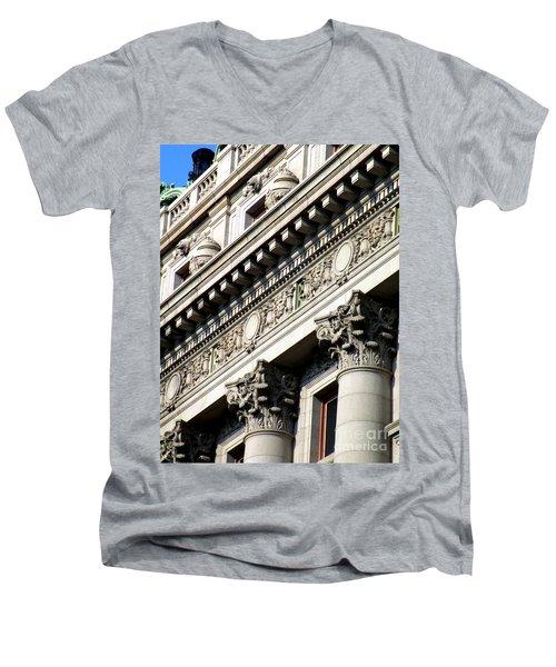 U S Custom House 2 Men's V-Neck T-Shirt by Randall Weidner