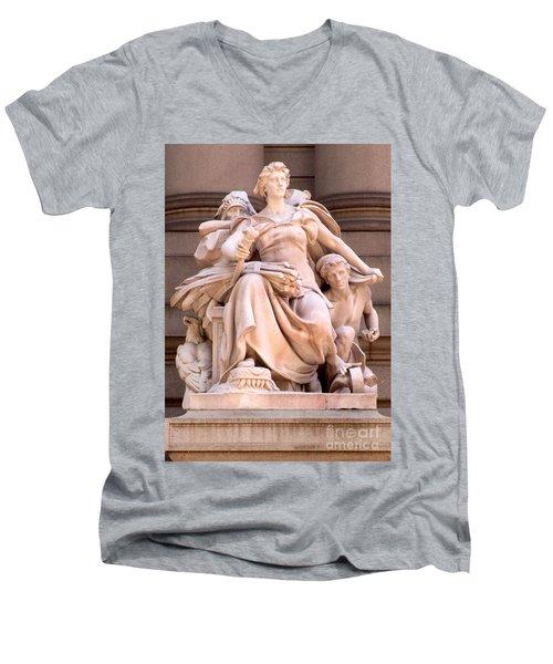 U S Custom House 4 Men's V-Neck T-Shirt by Randall Weidner