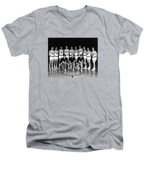 University Of Michigan Basketball Team 1960-61 Men's V-Neck T-Shirt by Mountain Dreams