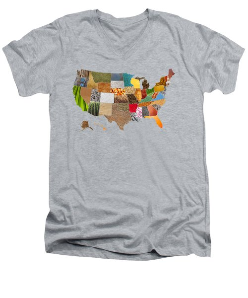 Vibrant Textures Of The United States Men's V-Neck T-Shirt by Design Turnpike