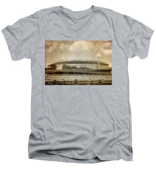 Vintage Old Yankee Stadium Men's V-Neck T-Shirt by Joann Vitali