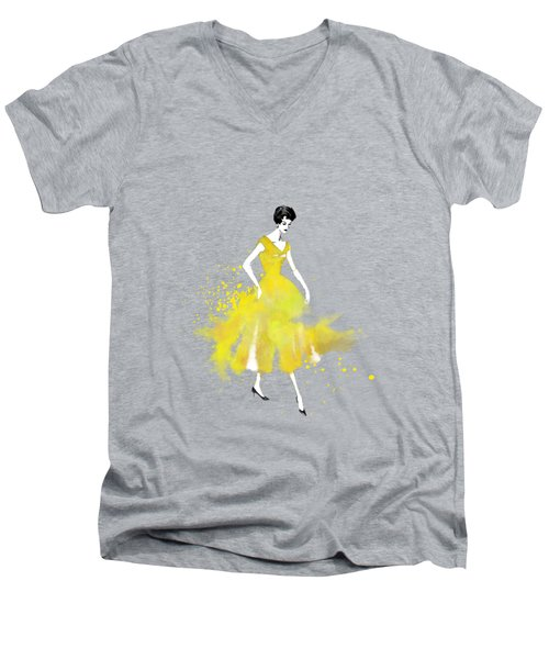 Vintage Yellow Dress Men's V-Neck T-Shirt by Diana Van