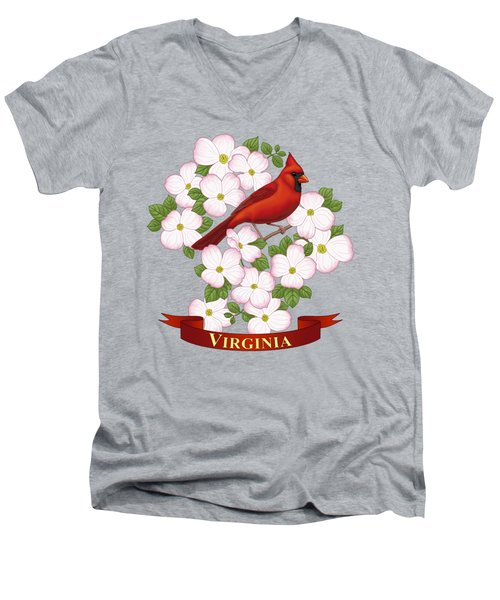 Virginia State Bird Cardinal And Flowering Dogwood Men's V-Neck T-Shirt by Crista Forest