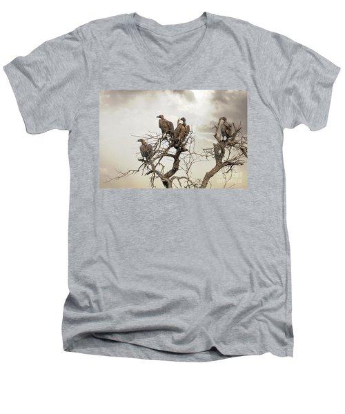 Vultures In A Dead Tree.  Men's V-Neck T-Shirt by Jane Rix