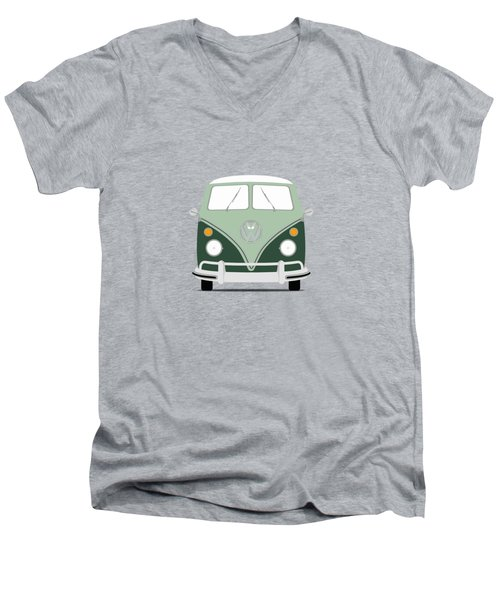 Vw Bus Green Men's V-Neck T-Shirt by Mark Rogan