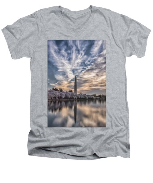 Washington Blossom Sunrise Men's V-Neck T-Shirt by Erika Fawcett