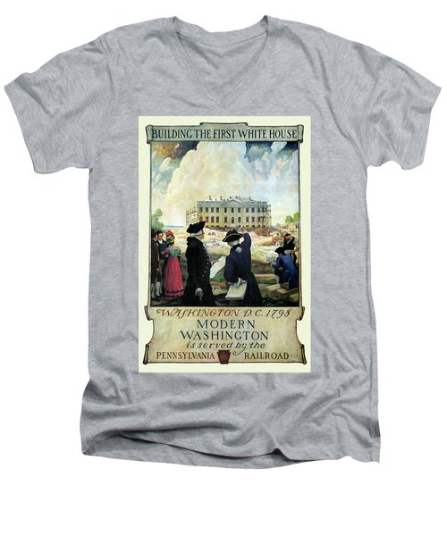 Washington D C Vintage Travel 1932 Men's V-Neck T-Shirt by Daniel Hagerman