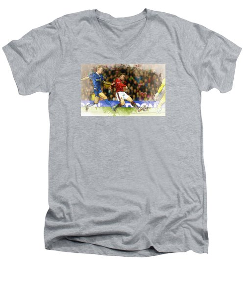 Wayne Rooney Of Manchester United Scores Men's V-Neck T-Shirt by Don Kuing