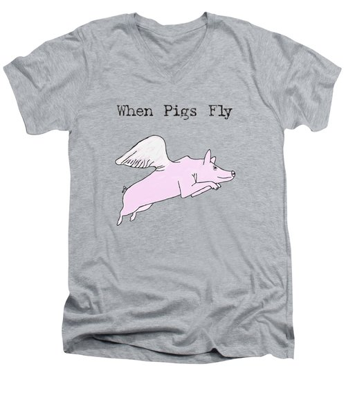 When Pigs Fly Men's V-Neck T-Shirt by Priscilla Wolfe