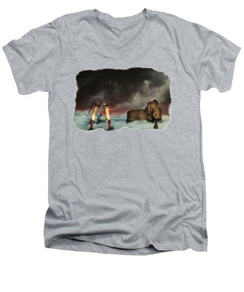 Where Giants Dwell Men's V-Neck T-Shirt by Terry Fleckney