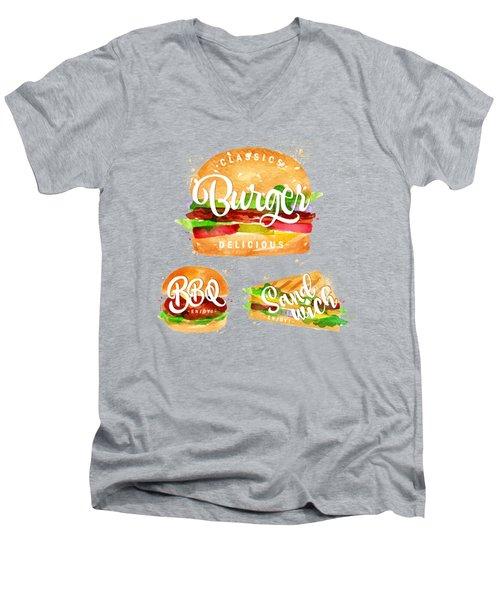 White Burger Men's V-Neck T-Shirt by Aloke Design