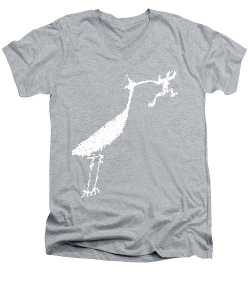 White Petroglyph Men's V-Neck T-Shirt by Melany Sarafis