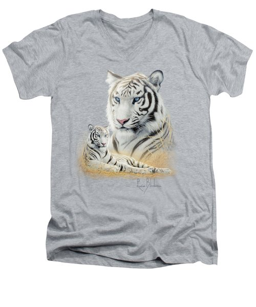 White Tiger Men's V-Neck T-Shirt by Lucie Bilodeau