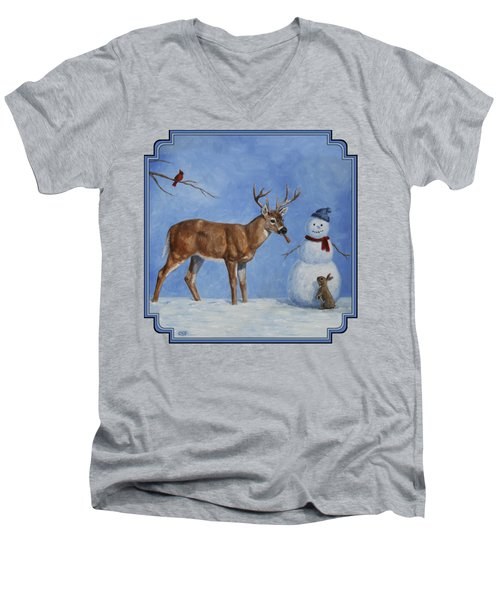 Whitetail Deer And Snowman - Whose Carrot? Men's V-Neck T-Shirt by Crista Forest