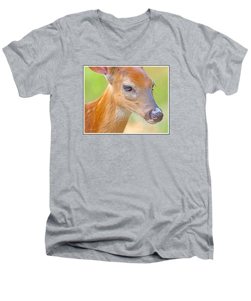 Men's V-Neck T-Shirt featuring the photograph Whitetailed Deer Fawn Portrait by A Gurmankin